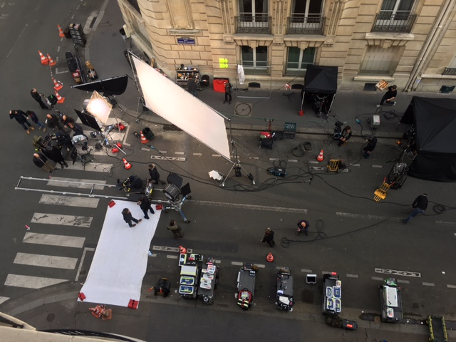 Filming on our street, Paris